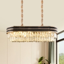 8-Light Dual-Layered Ceiling Pendant Contemporary Crystal Rectangle Island Lighting Fixture in Black