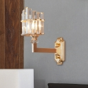 1 Light Column Wall Mounted Lamp Contemporary Clear Crystal Sconce Light Fixture in Gold for Parlor