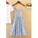 Summer Girls Sweet Floral Printed Strapless Pleated Mini A-Line Bandeau Beach Dress