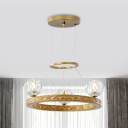 Faceted Crystal Globe Ceiling Chandelier Minimalist 3 Lights Gold Ring Suspension Lamp