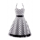 Streetwear Polka Dot Print Patchwork Mesh Trim Bow Pleated Backless Straps Halter Sleeveless Midi Swing Dress for Womens