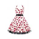 Glamorous Ladies Cherry Printed Pleated Bow Backless Patchwork Mesh Trim Straps Halter Sleeveless Midi Swing Dress