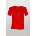 Sexy Ladies Solid Color Cut Out Button Notched Neck Short Sleeve Slim Fit Knit Tee