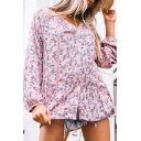Boutique Womens Ditsy Floral Printed Single Breasted Pleated Ruffle Cuff Lace Trim Long Puff Sleeve Notched Neck Relaxed Fit Tunic Pink Shirt