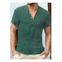 Mens New Trendy Solid Color Button V-Neck Short Sleeve Casual Linen Henley Shirt