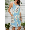 Popular Womens Allover Floral Printed Round Neck Short Shift Tank Dress