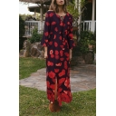 Womens Ethnic All over Flower Printed Bell Sleeve Round Neck Tied Front Slit Side Long A-line Dress