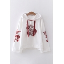 Vintage White Comic Figure Printed Long Sleeve Drawstring Loose Fit Hoodie for Girls