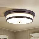 Rustic Drum Ceiling Light Opaline Glass LED Flush Mount Lighting in Black/Gold, 14