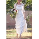 Amazing Womens Lace Half Sleeve Round Neck Backless Long Flowy Wedding Dress in White
