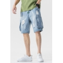 Trendy Mens Jean Shorts Light Wash Ripped Flap Pocket Zipper Mid Rise Regular Fitted Jean Shorts