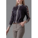 Retro Ladies Flower Printed Long Sleeve Collarless Button-up Regular Fit Shirt Top in Black