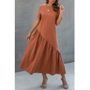 Simple Ladies Solid Color Patchwork Pleated Crew Neck Short Sleeve Maxi Swing Dress