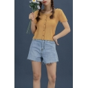 Pretty Ladies Solid Color Knitted Short Sleeve Round Neck Button up Slim Fit Cropped Top
