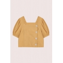 Fashion Girls Puff Sleeve Square Neck Button up Relaxed Crop Blouse Top