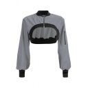 Womens Popular Reflective Halter Chain Long Sleeve Contrast Trim Cutout Sexy Sweatshirt