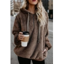 Preppy Stylish Plain Bear Ear Hood Long Sleeve Loose Active Pullover Hoodie
