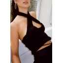 Party Girls Fuzzy Halter Hollow Out Backless Slim Fit Tank Top in Black