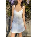 Lovely Girls Sweetheart Neck Button Up Short A-line Tank Dress in White