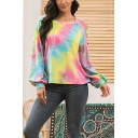 Stylish Tie Dye Crew Neck Cutout Bishop Long Sleeve Relaxed  Pullover Sweatshirt