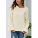 Trendy Heart Embroidered Crew Neck Long Sleeve Plush Relaxed Fit Pullover Sweatshirt
