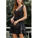 Amazing Solid Color Sequins Patchwork Sleeveless V-neck Tiered Short Fit and Flared Tank Dress