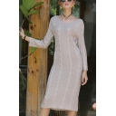 Fashionable Solid Color Cable Knitted Long Sleeve Round Neck Mid Shift Sweater Dress