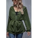 Trendy Green Long Sleeve Zipper Front Hooded Bow Tied Waist Relaxed Jacket