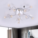 Cube Clear Crystal Ceiling Lamp Contemporary 11/20 Lights Chrome Finish Semi Flush Mount Lighting with Twisted Arm