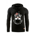 Trendy Guys Letter Hello Darkness My Old Friend Graphic Knit Long Sleeve Drawstring Fit Hoodie