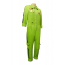 Trendy Boys Lightning Printed Long Sleeve Point Collar Zipper Front Long Straight Jumpsuit in Green