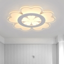 Flower Ceiling Light Fixture Minimalism Acrylic LED White Flush Mount Lighting for Great Room