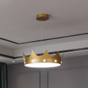 Nordic LED Pendant Chandelier Pink/Gold Crown Suspended Lighting Fixture with Metallic Shade