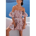 Glamorous Pink Allover Flower Printed Short Sleeve Off the Shoulder Short Pleated Fit and Flared Dress for Women