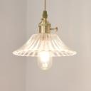Brass 1-Light Suspension Lighting Colonial Clear Glass Umbrella Pendant Ceiling Light