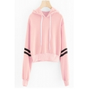 New Stylish Striped Long Sleeve Drawstring Hood Cropped Hoodie