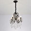 4/5-Head Crystal Strand Chandelier Modern Black Candlestick Dining Room Ceiling Pendant Light