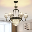 Tapered Crystal Prism Hanging Lamp Traditional 6/8-Bulb Living Room Chandelier in Black