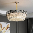 11-Head Chandelier Lighting Minimalist Layered Round Clear Crystal Pendant Ceiling Light