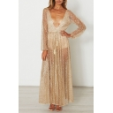 Womens Glamorous Glitter See-through Blouson Sleeve Deep V-neck Bow Tied Waist Maxi Pleated A-line Gown in Yellow