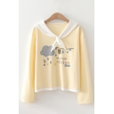 Stylish Chinese Letter Cloud Graphic Long Sleeve Contrasted Tied Sailor Collar Relaxed Fit Pullover Sweatshirt in Yellow