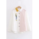 Stylish Girls Cartoon Embroidered Striped Long Sleeve Contrated Point Collar Button-up Curved Hem Loose Fit Shirt