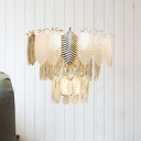 3 Lights Layered Wall Mounted Lamp Contemporary Clear Cut Crystal Sconce Lighting Fixture
