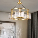 Gold Drum Frame Chandelier Postmodern Crystal Prism 3-Light Dining Room Hanging Lamp
