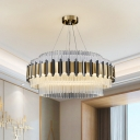 Layered Round LED Chandelier Pendant Post-Modern Clear Crystal Hanging Ceiling Light