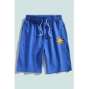 Mens Casual Sweat Shorts Cartoon Sun Pattern Pocket Drawstring Mid Waist over the Knee Fitted Sweat Shorts