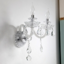 Candle Shape Wall Mount Light Modern Style Clear Hand-Cut Crystal 2 Bulbs Hallway Sconce Light Fixture