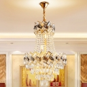 Modern Empire Chandelier 5/8 Bulbs Cut Crystal Hanging Ceiling Light in Gold, 16