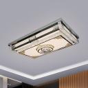 Stainless Steel Rectangle Flush Light Contemporary Crystal Embedded Living Room LED Ceiling Mount Lamp