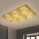 Clear Crystal Cubes Ceiling Light Modernist Bedroom LED Flush Mount Recessed Lighting